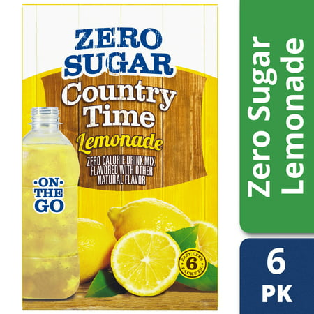 (4 Pack) Country Time On-The-Go Sugar-Free Lemonade Powdered Soft Drink, 6 - 0.83 oz Packets