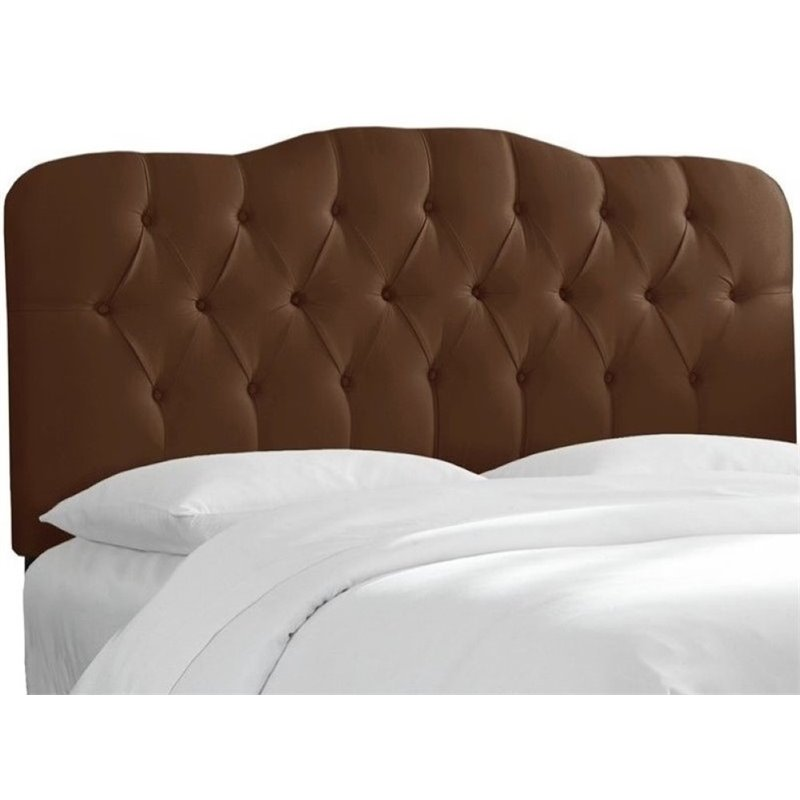Pemberly Row Upholstered King Tufted Panel Headboard in Chocolate
