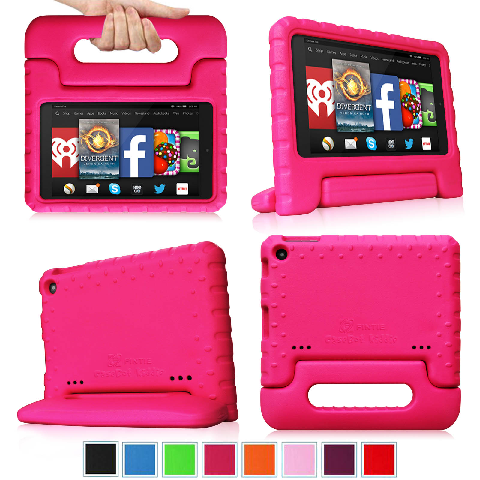 Fintie Kindle Fire HD 7 2014 Oct Release Tablet Kids Case - Lightweight Shock Proof Handle Cover, Magenta