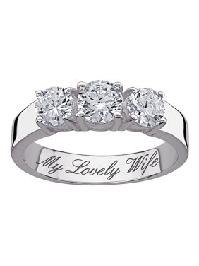 Product Image Personalized Sterling Silver Cz Trio Promise Engagement Ring