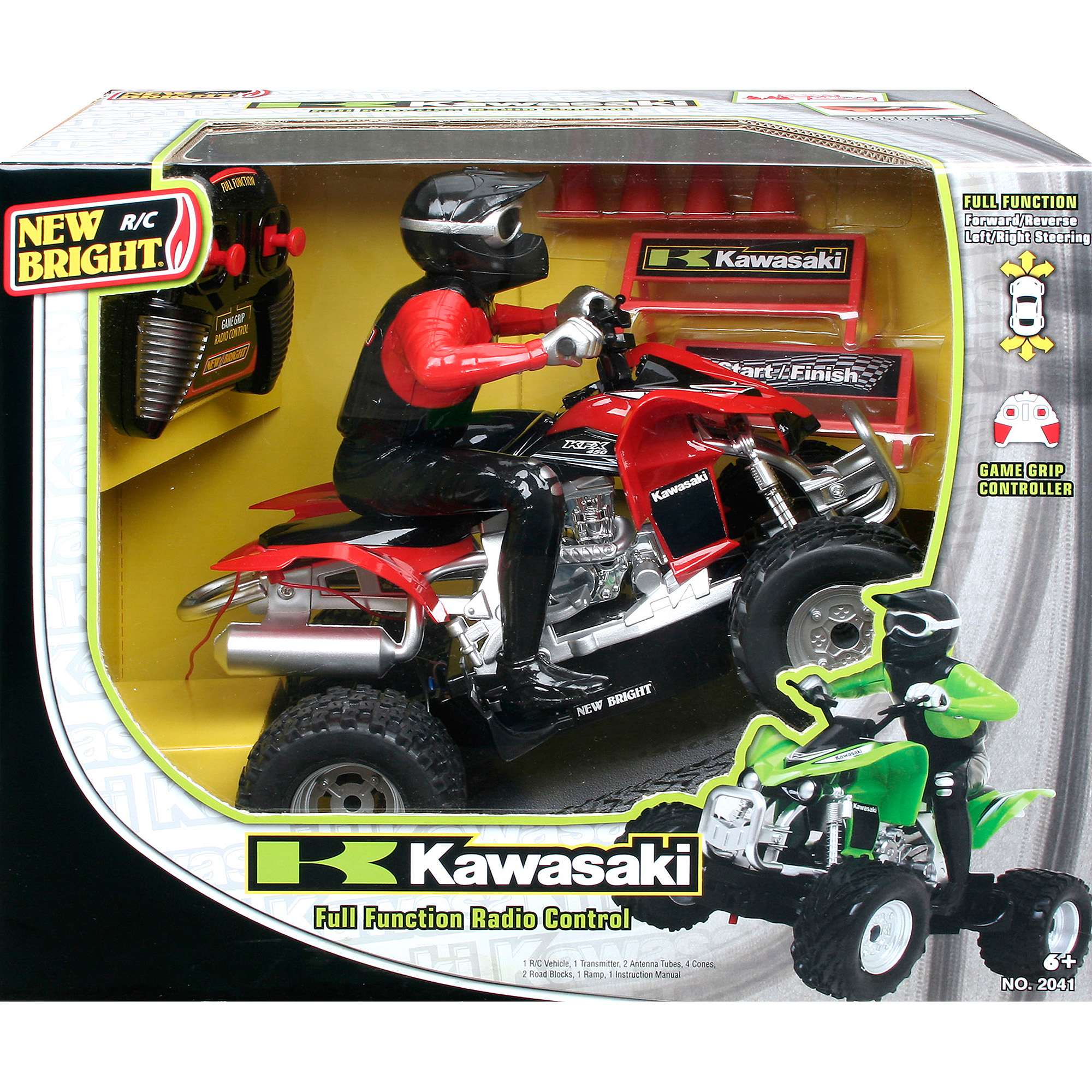New Bright 1:20 R/C Kawasaki KFX 450 with Rider, Red
