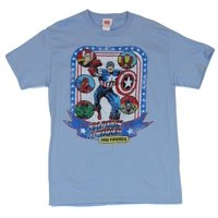 Captain America Mens T-Shirt  - And Friends spider2man, Thor, Iron Man, Luke Cage