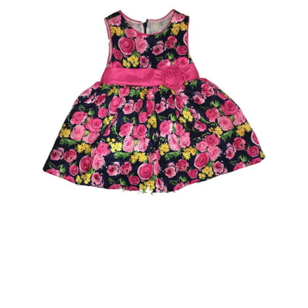 Infant & Toddler Girls Navy Blue & Pink Roses Tea Length Formal Baby (Shoes To Wear With Tea Length Dress)