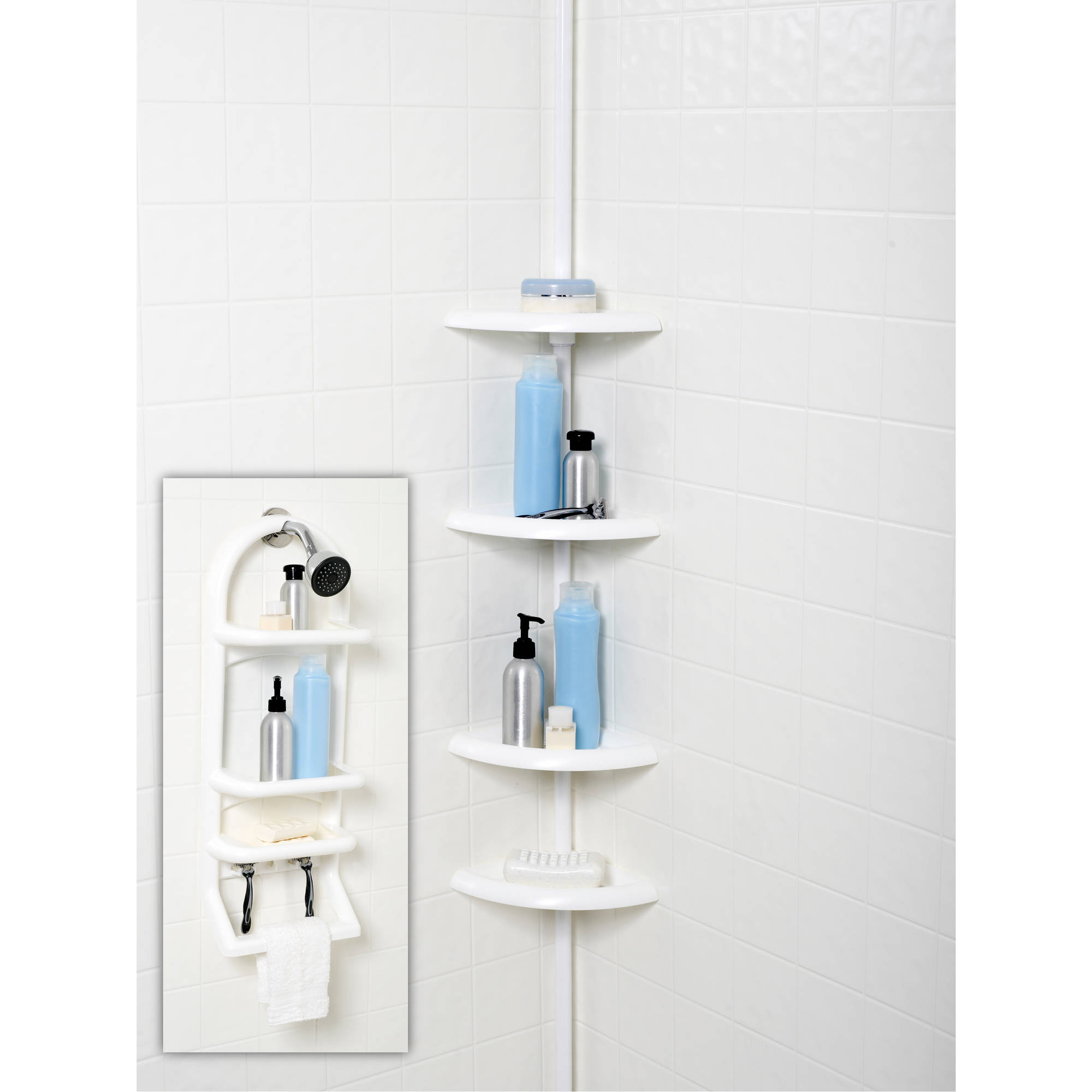 2-Piece Shower Caddy Set, White by Zenith Products
