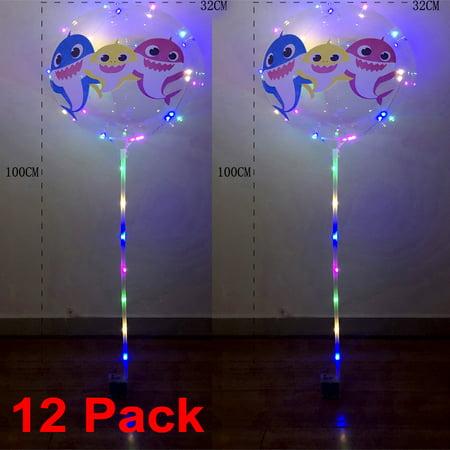 12 Shark LED Bubble Balloons Bobo Light Up Birthday Flashing Party + Sticks Transparent Centerpiece - Balloon Centerpiece Ideas