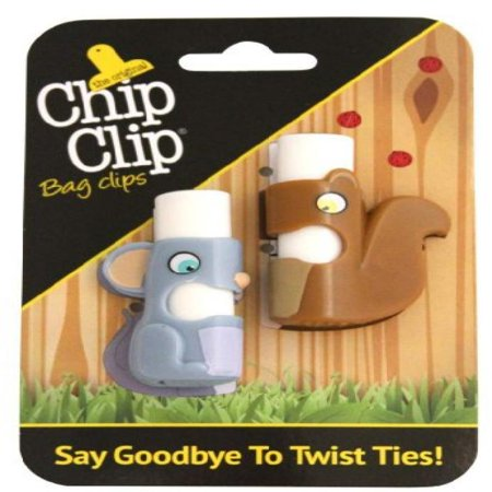 Chip Clip Set - Chip Clip Bag Clips, Push Button Bag Ties in Cute Shapes Set of 2 (Mouse/Squirl)