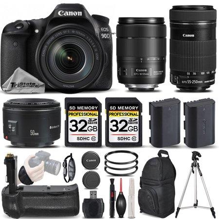 Canon EOS 90D Wi-Fi Full HD 4K30p Digital SLR Camera + Canon 18-135mm IS USM Lens + Canon 55-250mm IS STM Lens + Canon 50mm 1.8 II Lens. All Original Accessories Included