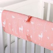 The Peanut Shell Baby Crib Rail Guard - Coral Pink Woodland Forest Animal Print - 100% Cotton Sateen Cover, Polyester Fill