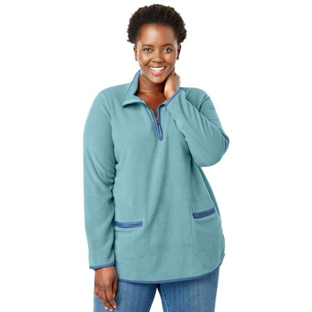 f7a47dc62be Woman Within - Plus Size Quarter-Zip Microfleece Mock Neck Sweatshirt -  Walmart.com
