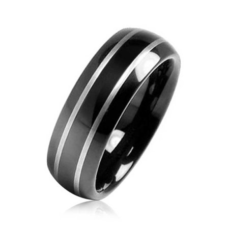 Simple Dome Black Silver Two Tone Center Stripe Couples Wedding Band Tungsten Ring For Men For Women Comfort Fit 8MM