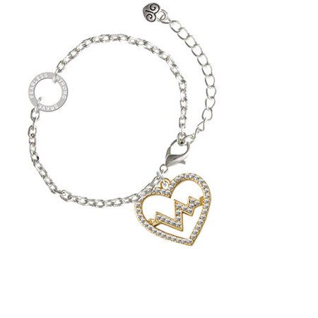 Gold Tone Large Crystal Heart   Heartbeat   Fearless Strong Brave Ring Zoe Bracelet