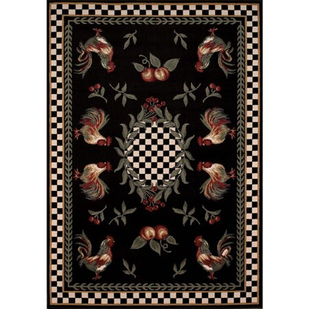 Avalon Collection Country Rooster Area Rug Multi