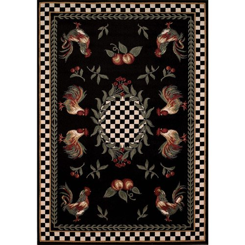 Avalon Collection Country Rooster Area Rug, Multi