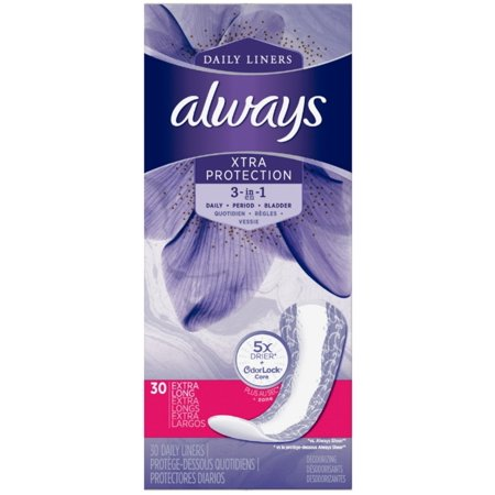 - 2 Pack - Always Xtra Protection 3 in 1 Daily Liners, 30 ea