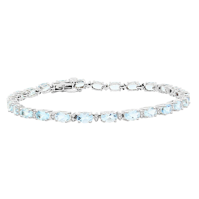 5.87 ct.t.w.Genuine Aquamarine and Diamond Bracelet 14Kt White Gold by