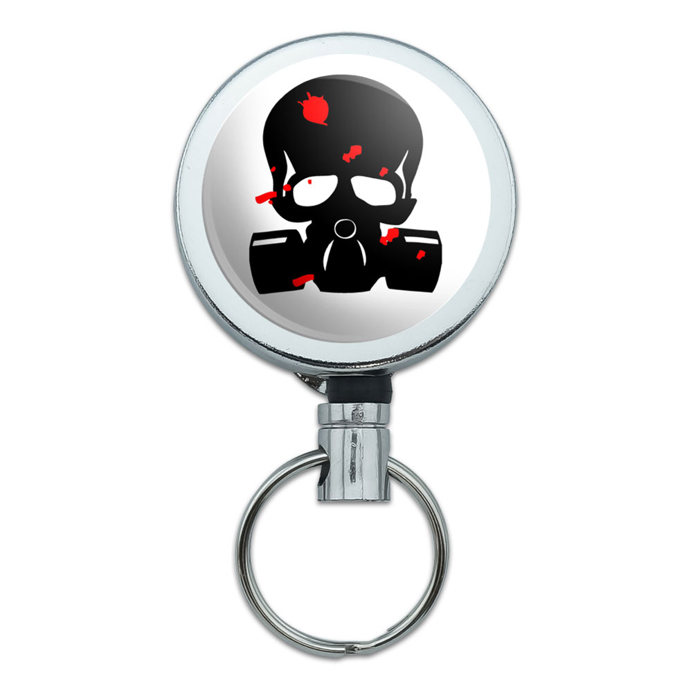 Zombie Outbreak Response Team Blood Skull Gas Mask Retractable Belt Clip Badge Key Holder by Graphics and More