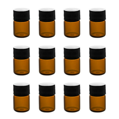Dram Glass (1ml (1/4 dram) Mini Amber Glass Vial Bottles with Orifice Reducer (12 Pack) by Super Z Outlet)