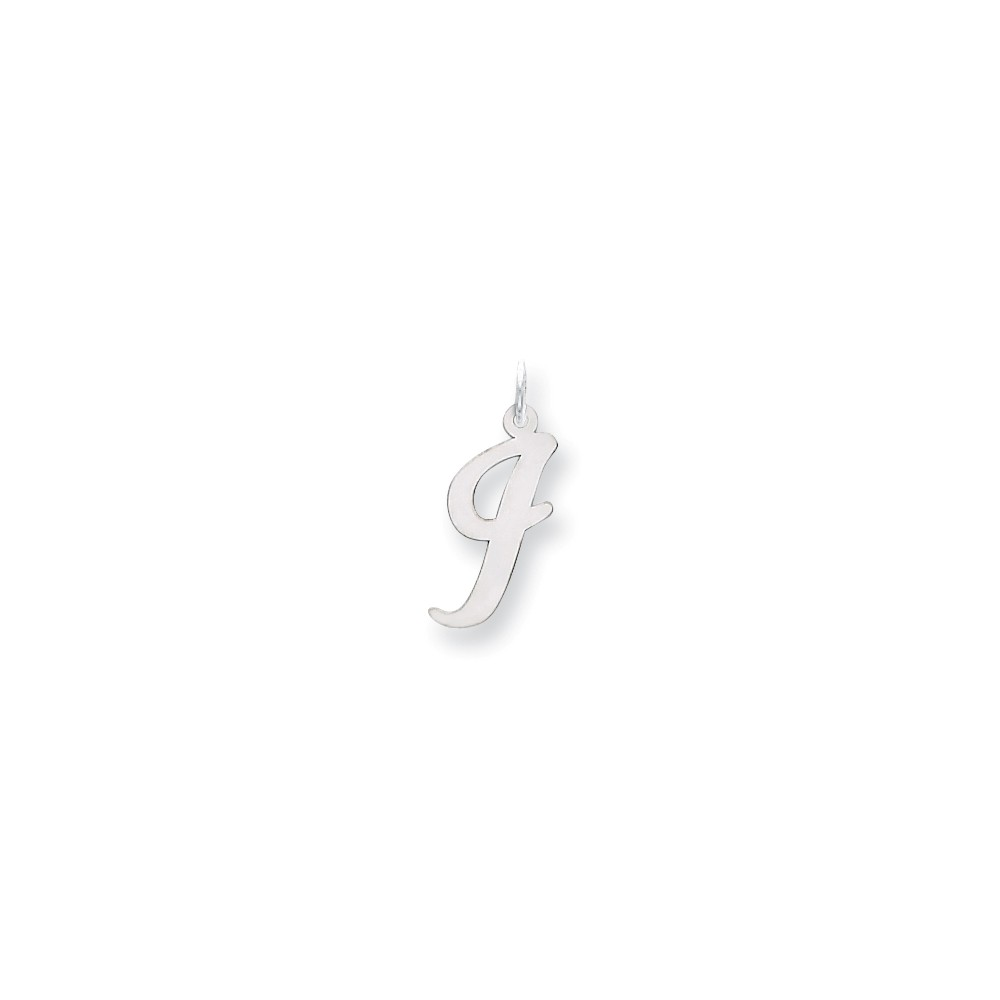 14k White Gold Large Script Initial I Charm (0.9in long x 0.7in wide)