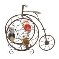 Decmode Eclectic 19 Inch Iron Penny Farthing Bicycle Seven-Bottle Wine Rack, Brown