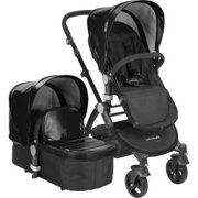 BABYROUES LETOUR II STROLLER BLACK CANVAS ON A SILVER FRAME
