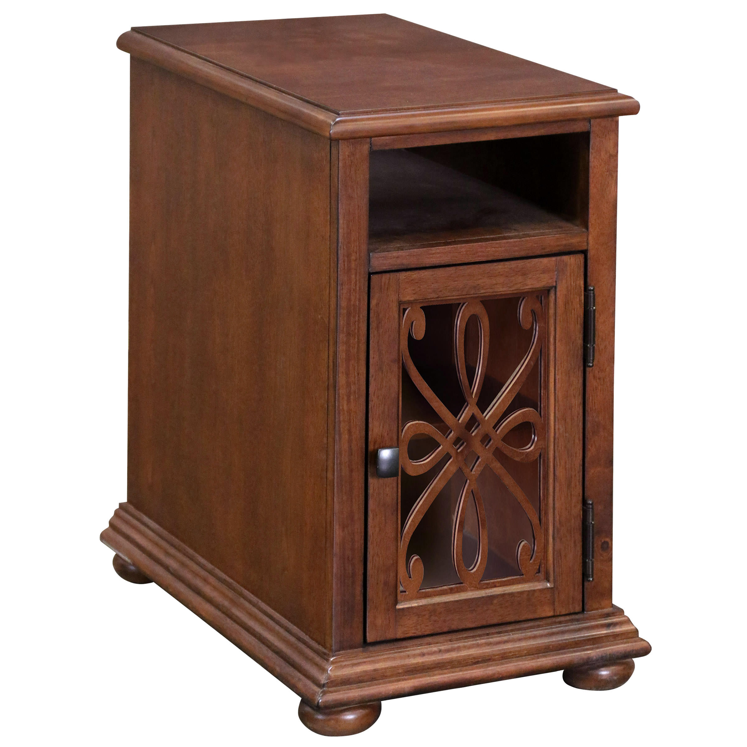 Ornate Overlay Chairside Cabinet - Cherry Finish