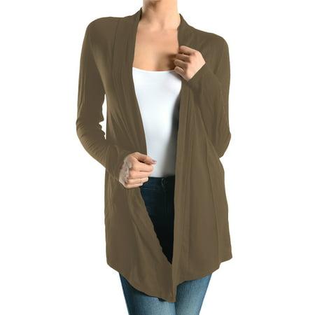 Women's Sofra Open-Front Soft Draped Long Sleeve Cardigan Sweater Longline Tunic