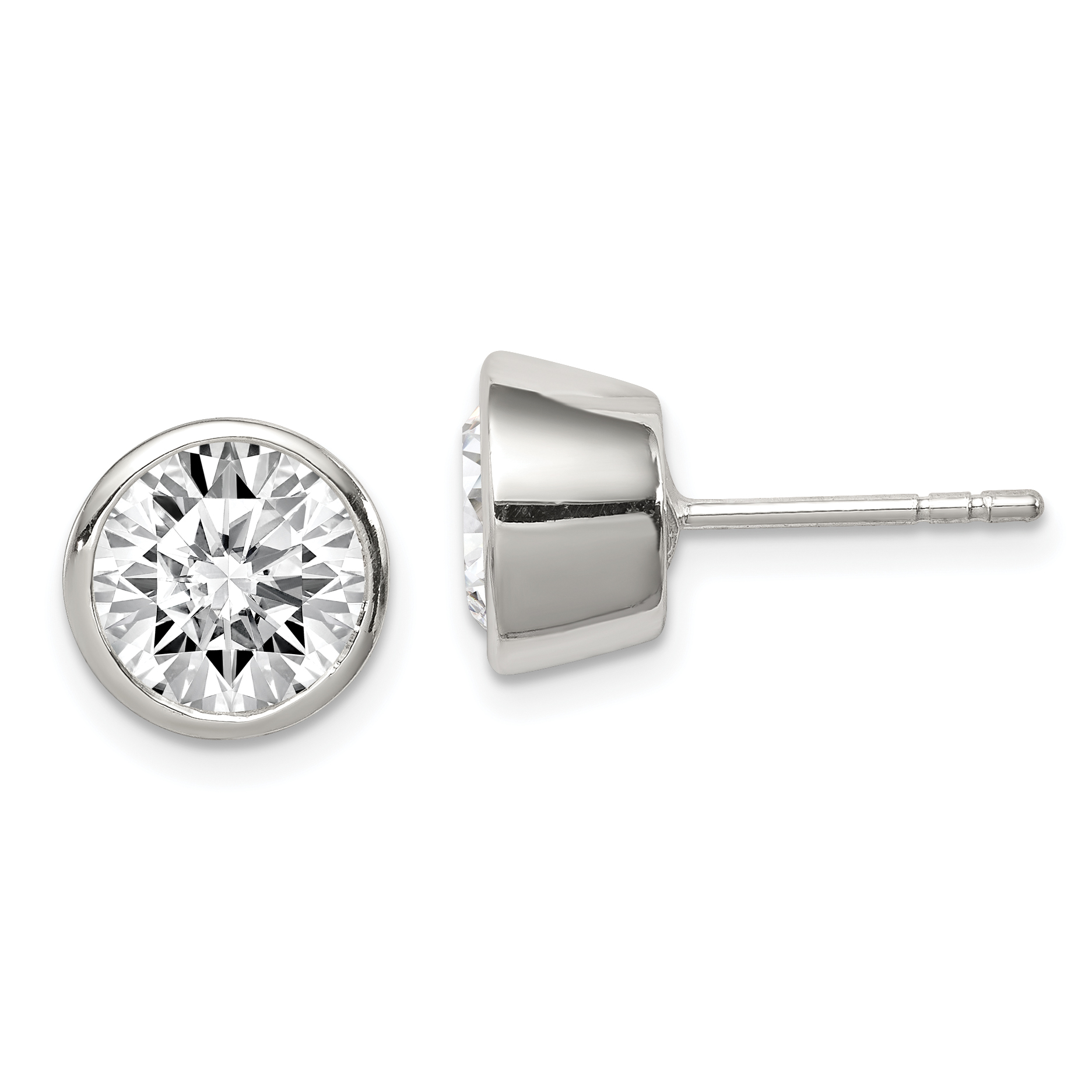 Black Sterling Silver Ear Stud Earrings White Diamond Simulant Mismatched Mens Earrings Cubic Zirconia CZ 4,6,8mm Round Single