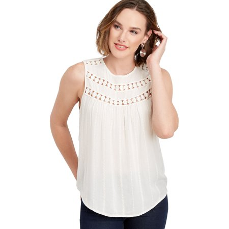 Embroidered Neckline (Solid Embroidered Crew Neck Tank )