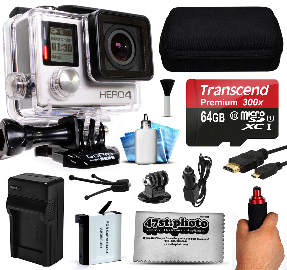 GoPro HERO4 Hero 4 Silver Edition 4K Action Camera Camcorder with 64GB MicroSD Card, Stabilization Hand Grip, Extra Battery, Home and Car Charger, Medium Case, HDMI, Dust Cleaning Care Kit (CHDHY-401)