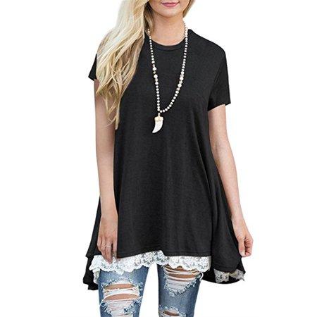 5d761225dfc875 Phoebecat - Phoebecat Short Sleeve Tunic Blouse Tops for Women, Womens  Round Neck Shirts Flowy Blouses for Women, P70BS Tunic Sweatshirts Top for  Women ...