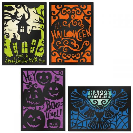 Deluxe Haunted Halloween Cards- Set of 8 Halloween Greeting Cards