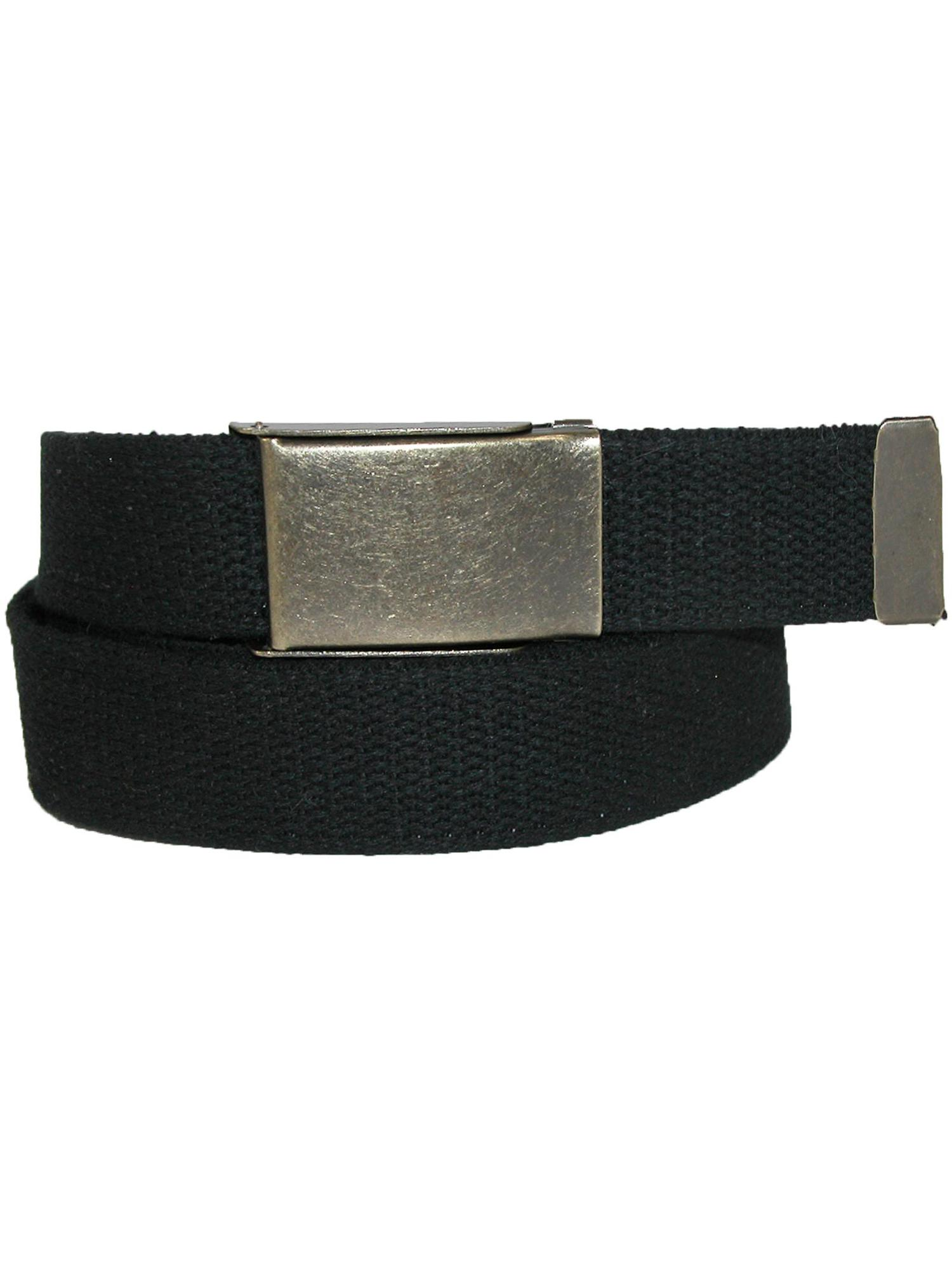 Pack of 3 CTM Mens Big /& Tall Belt with Flip Top Brass Buckle