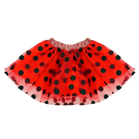 SeasonsTrading Red & Black Polka Dot Tulle Tutu Lined Skirt - Girls (2-7 Years) Ladybug Costume, Birthday Party, Pretend Play, Dance Dress