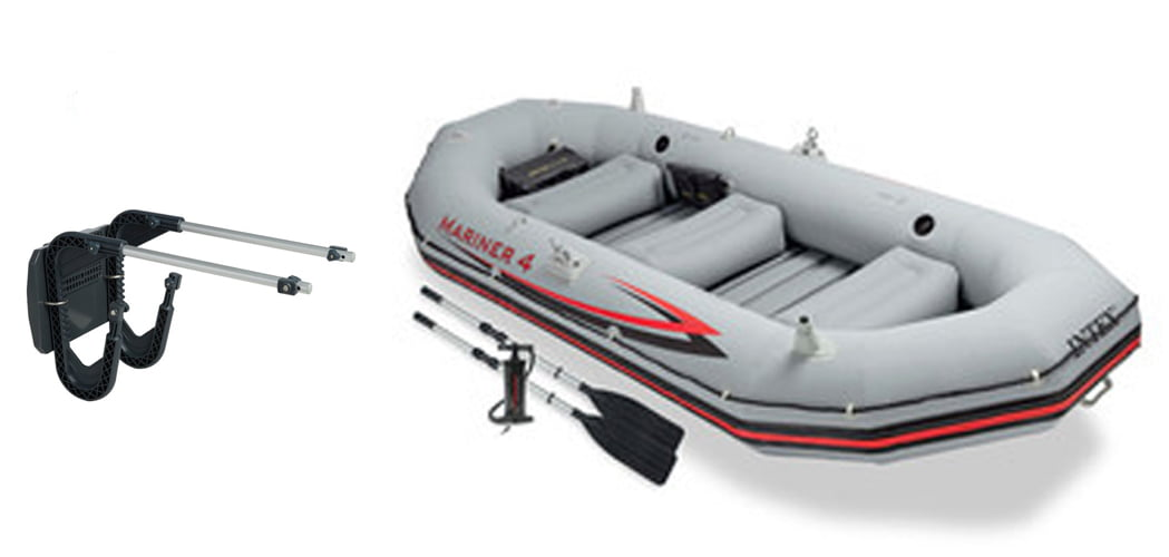 Intex Mariner 4 Inflatable Raft River Lake Dinghy Boat Set & Motor Mount Kit by Intex