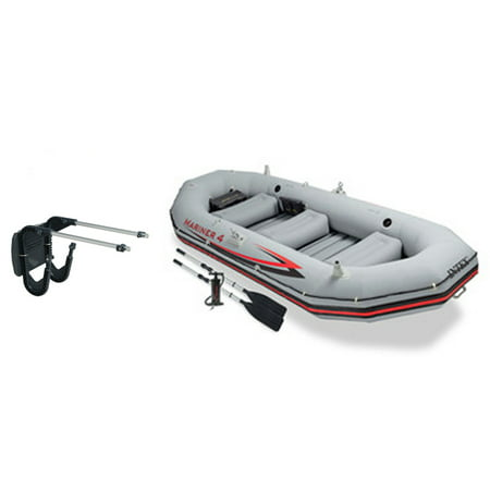 Intex Mariner 4 Inflatable Raft River/Lake Dinghy Boat Set & Motor Mount Kit - Inflatable Boat Kit