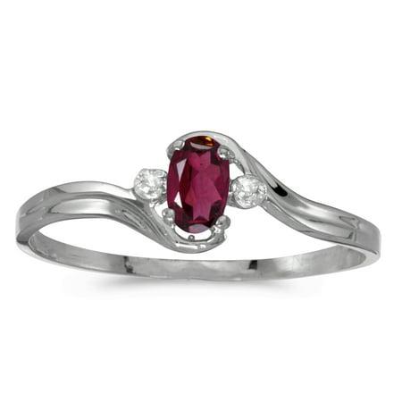 14k White Gold Oval Rhodolite Garnet And Diamond Ring ()