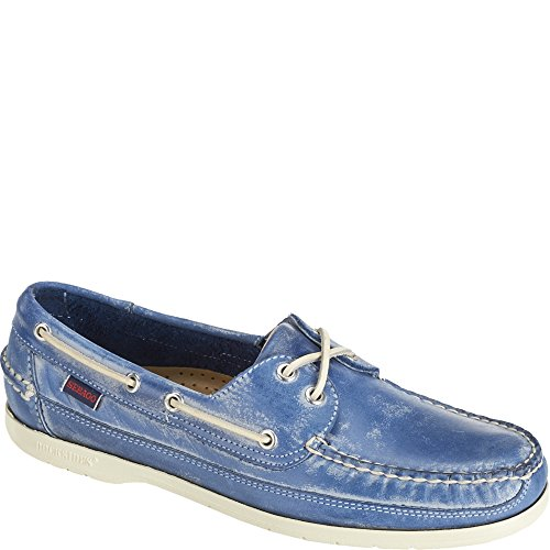 Sebago Mens Schooner Blue Waxy Leather Boat Shoe - 7