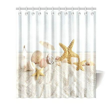 MYPOP Sea Shells and Starfish Decor Shower Curtain, Beach Seashells Nautical Ocean Seaside Seascape Coastal Art Print Polyester Fabric Shower Curtain 66 X 72 Inches Long, White Sand