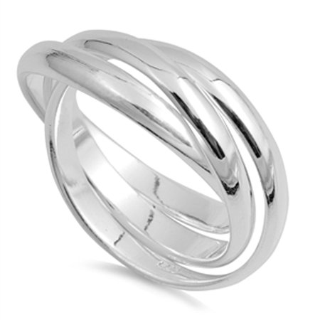 Triple Rolling Rings (Triple 3mm Rolling Wedding Ring New .925 Sterling Silver Stacked Band Size)