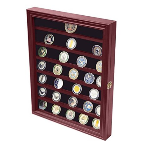 DECOMIL - Military Challenge Coin Display Case Cabinet Rack Holder with Door Row Challenge Coin Rack