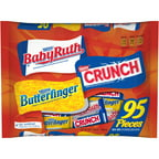 Baby Ruth, Nestle Crunch and Butterfinger Fun Size Halloween Candy Bars, 95 count, 3.62 lbs