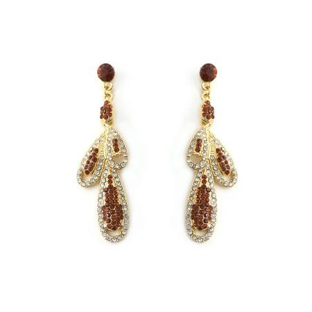 Gold Plated Red Rhinestones Filled 3 Crystal Teardrop Shape Rhinestone Dangle Earrings