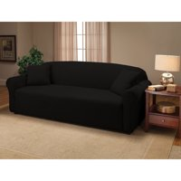Kashi Home Jersey Slipcover, Soft Stretch Form Fitting, SOFA BLACK