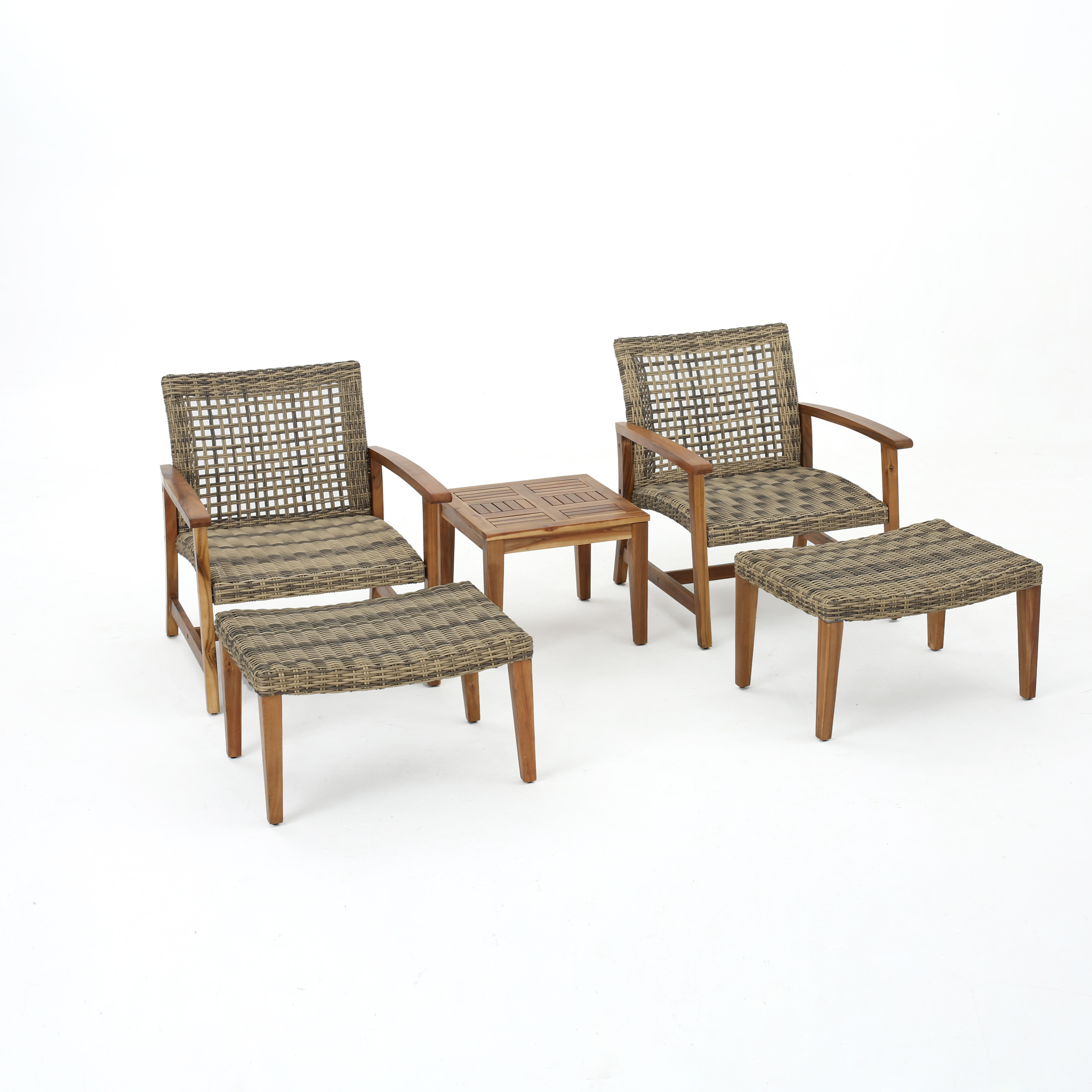 Savannah Outdoor Mid Century 5 Piece Grey Wicker Chat Set With Acacia Wood  Frame, Natural