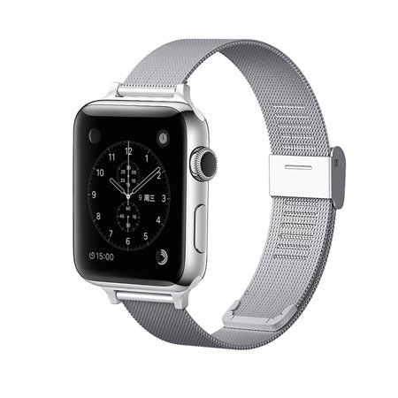 Tech Elements Wrist Apple watch band 38mm/42mm: Stainless Steel Mesh Style Replacement Bands for Apple Watch Series 1 & 2 ( 42mm ) - Silver Tech Elements Wrist Apple watch band 38mm/42mm: Stainless Steel Mesh Style Replacement Bands for Apple Watch Series 1 & 2 ( 42mm ) - Silver