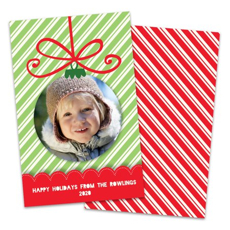 Personalized Ornament and Stripes Photo Holiday Card