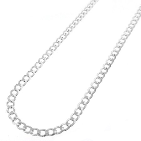 4mm Round Black Rubber Necklace - Sterling Silver Italian 4mm Cuban Curb Link ITProlux Solid 925 Necklace Chain 16
