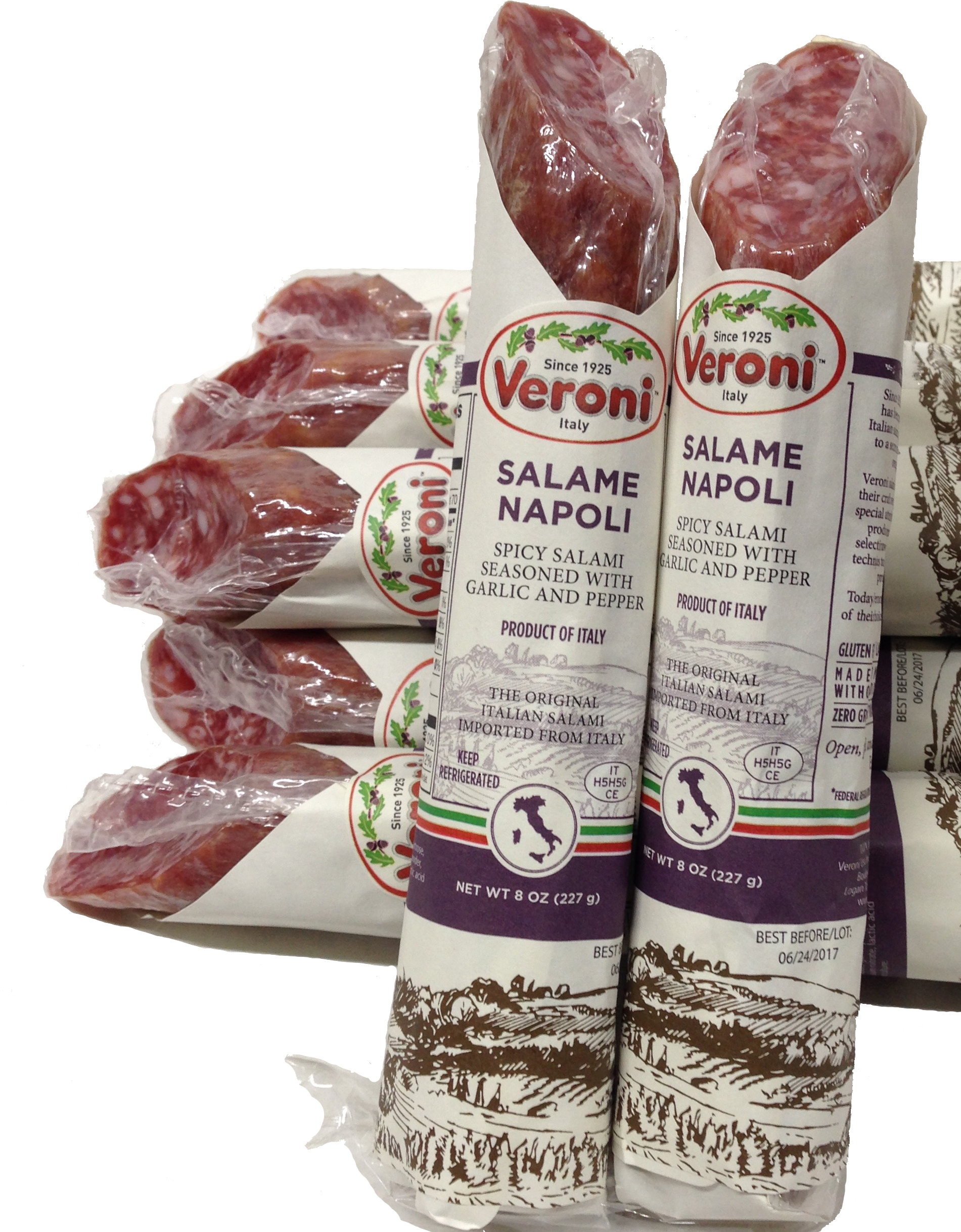 Veroni Salami Napoli Spicy Salami Seasoned with Garlic and Pepper 8 oz (Each) by Verolio