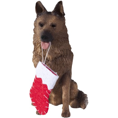 Sandicast Sitting German Shepherd with Stocking Christmas Dog - Husky German Shepherd