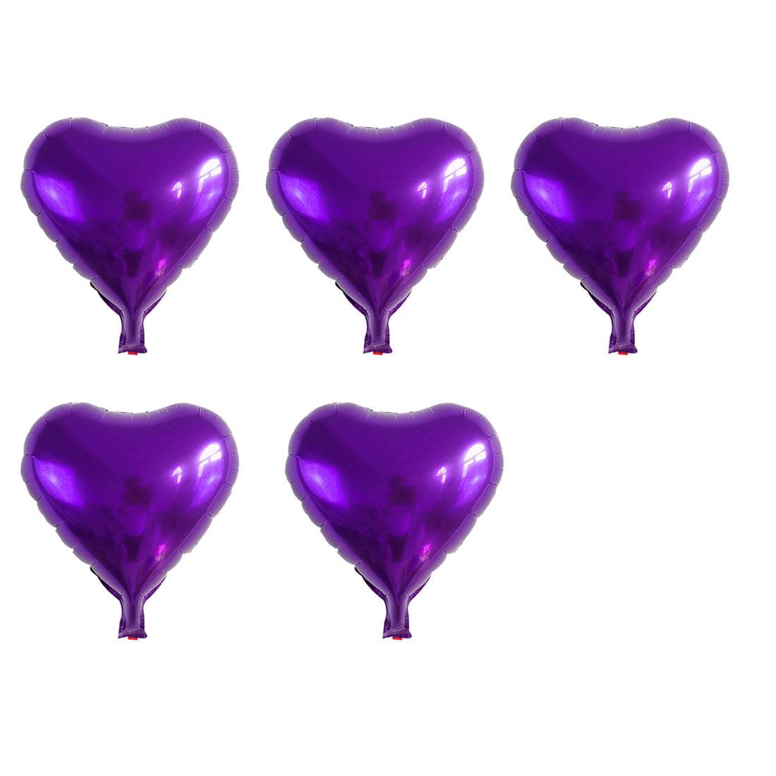 Unique Bargains Foil Heart Shape Balloon Birthday Wedding Decor Purple 5 Inches 5 Pcs